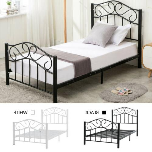 black white twin size metal bed frame