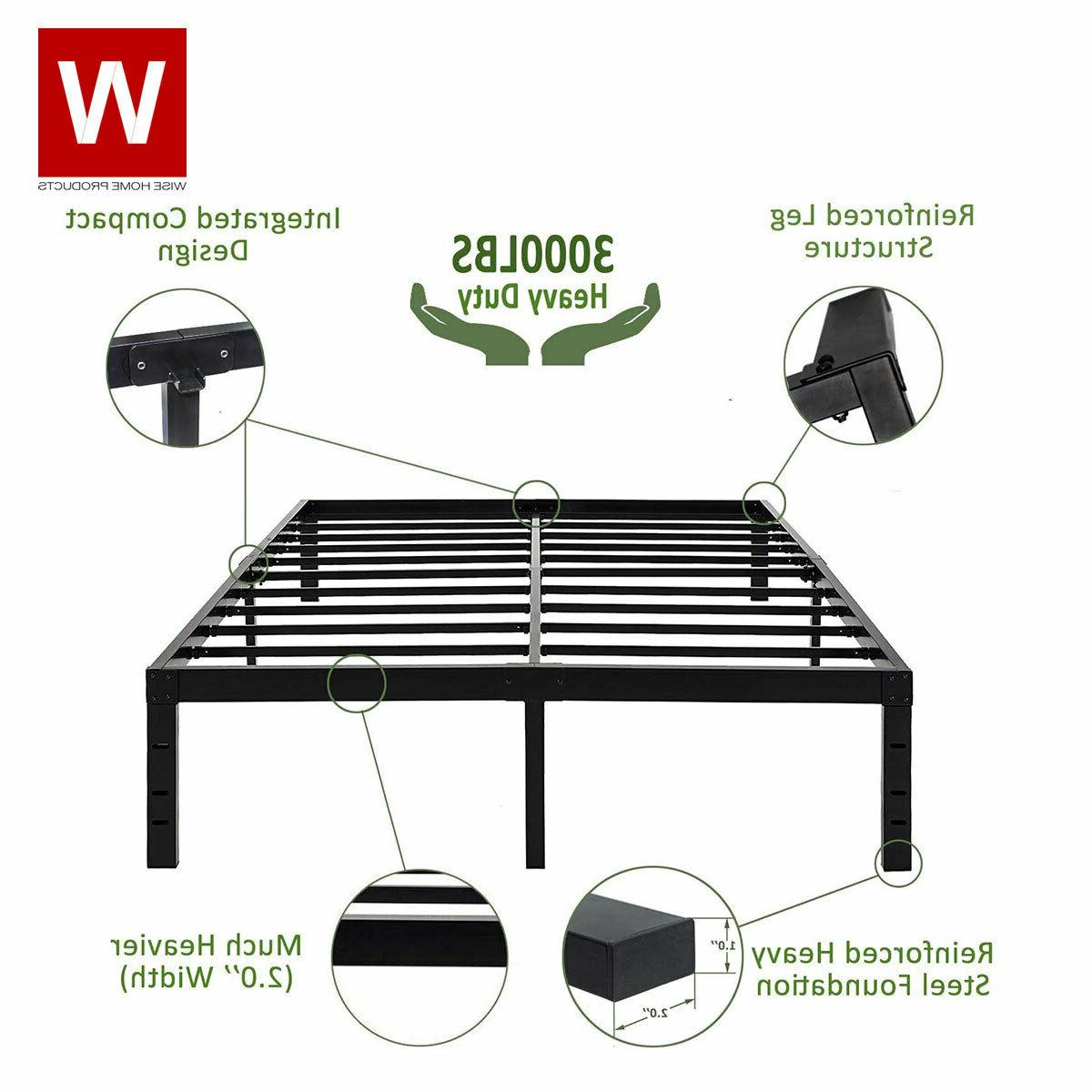 Heavy Duty Steel Platform Bed Frame - Metal Bed Frame with S