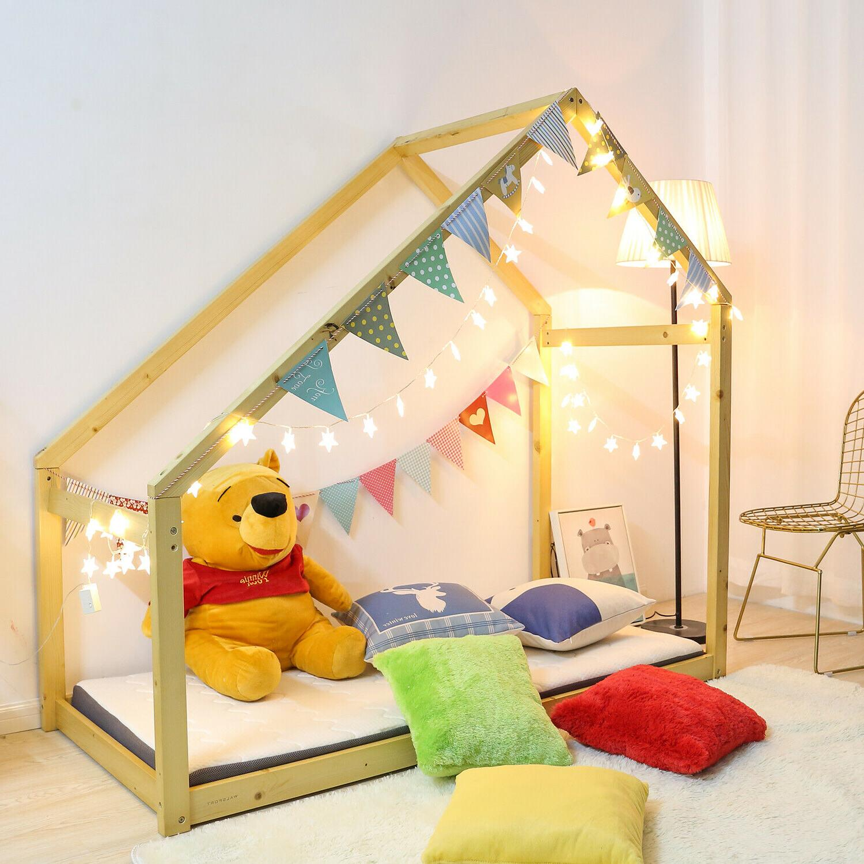 Children Toddler Bed Frame Wood Kids Floor Bed Tent Bedroom
