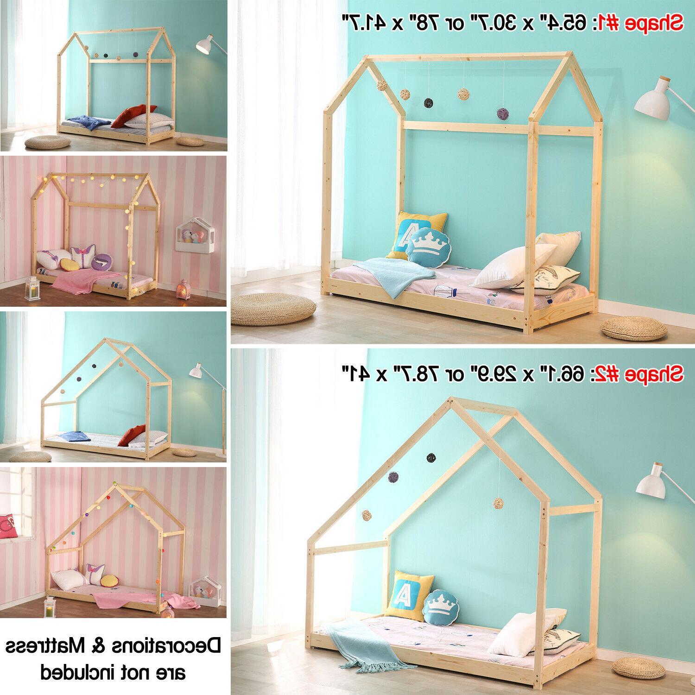 children toddler house bed frame wood kids
