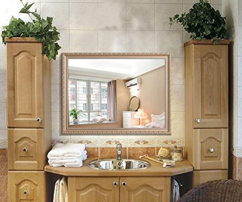 Hans & Deal! Large Rectangular Bathroom Mirror, Wall-Mounted Wooden Vanity Mirror, Gold
