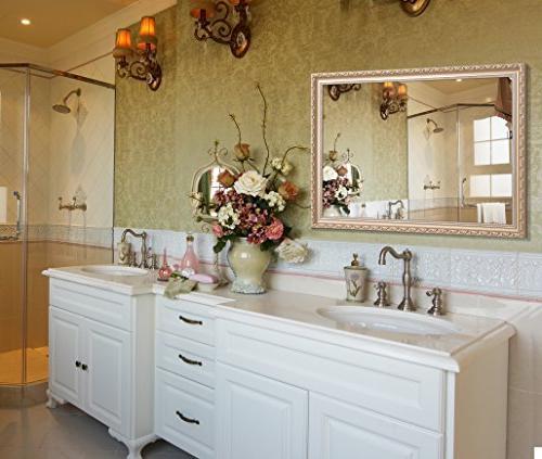 Hans Deal! Large Mirror, Wooden Frame Vanity Gold
