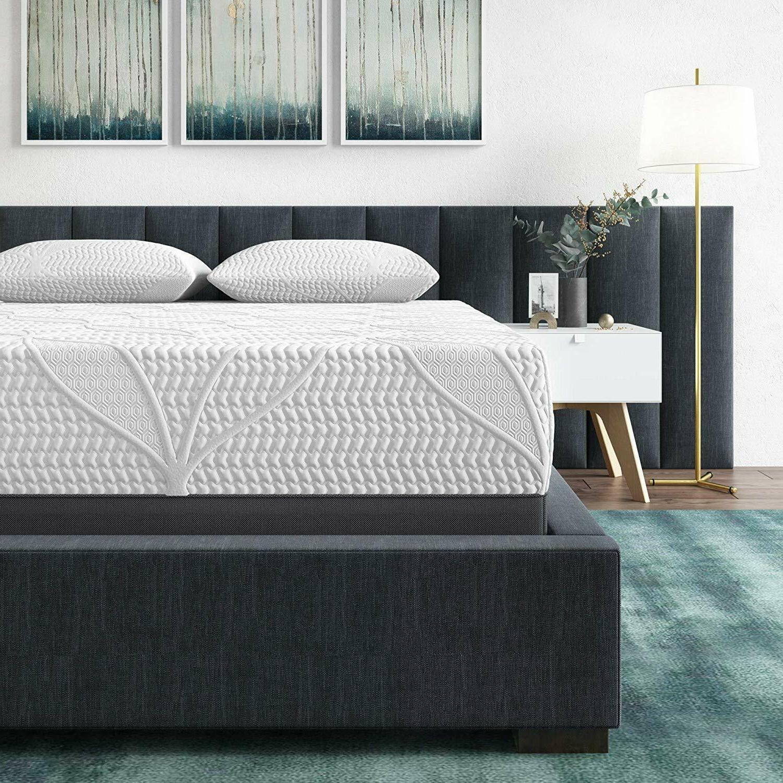 Cool Gel Memory 14-Inch Mattress METAL BED FRAME
