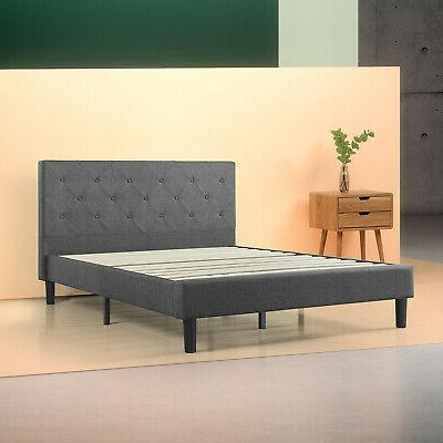 Dark Gray Upholstered Diamond Stitched Bed Platform W/ Woode