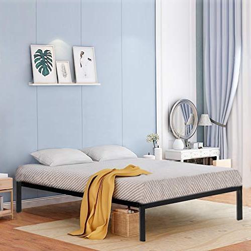 Bed Frame Metal Platform Bed Size Steel Wood Slat Bed Black Foundation, Duty