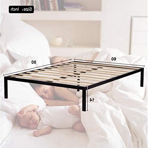 Bed Metal Platform Bed Frame Steel Slat Bed Black Duty
