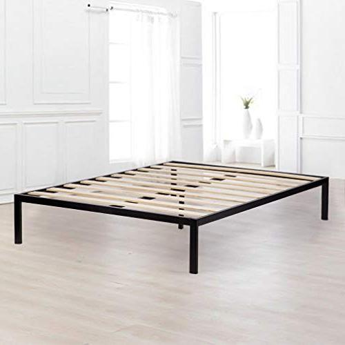 Bed Frame Metal Bed Queen Steel Wood Black Foundation, Heavy Duty