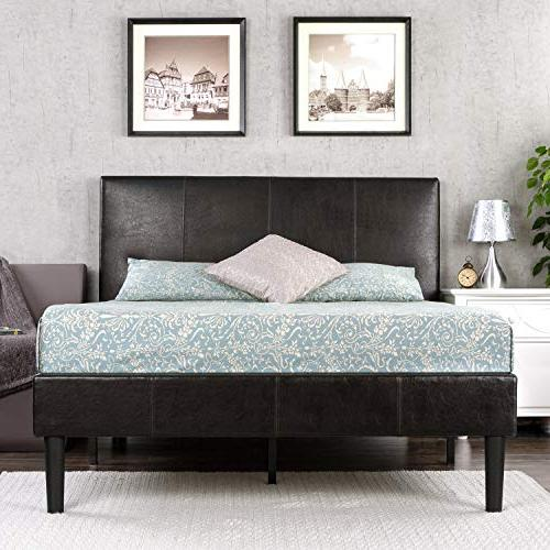deluxe faux leather platform bed
