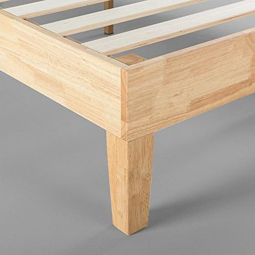 Zinus Deluxe Wood Bed / Spring Needed / Wood Support / Natural Finish, King