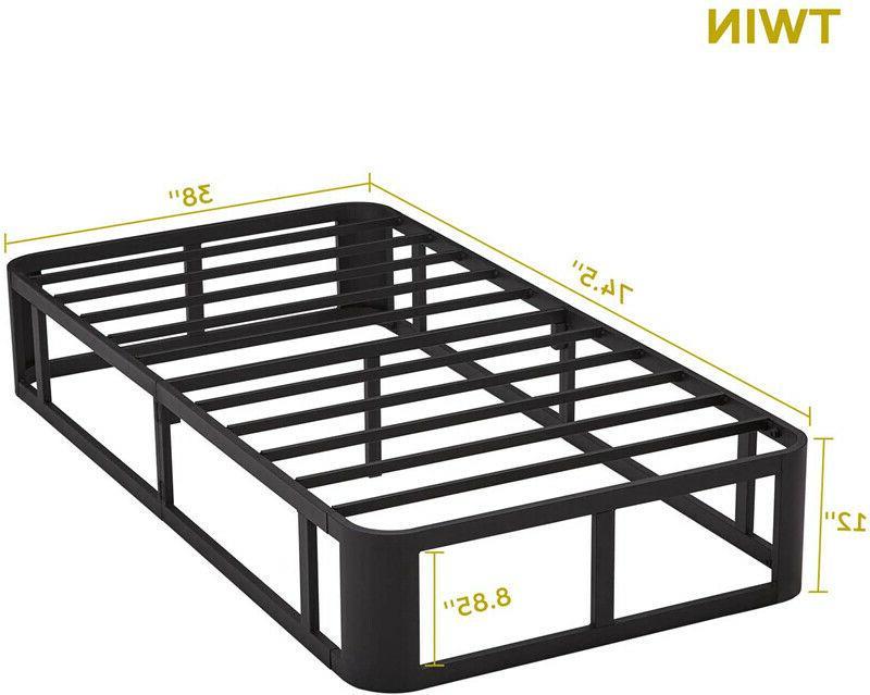 Durable 12 Metal Platform Slatted Bed Base Twin Size