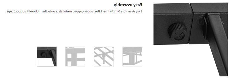 Durable Metal Platform Slatted Base Twin Size Black