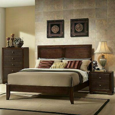 Espresso King Size Wood Platform Bed Frame Panel Headboard B