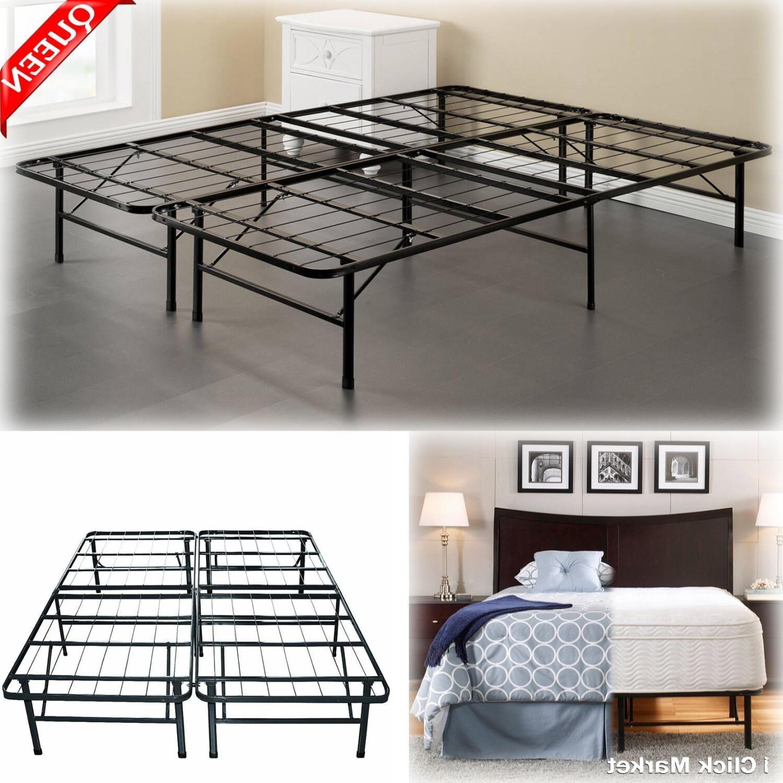 QUEEN Size Bed Frame Heavy Duty Metal Platform Mattress Fold
