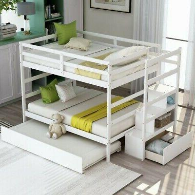 Full Over Bunk Bed Wooden Size Frame W/Drawer