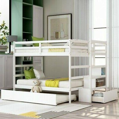 Full Over Bed Wooden Size Trundle Large Frame W/Drawer