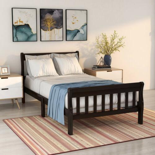 Wood Bed Frame Twin Size Bed Platform w/ Headboard Wood Slat