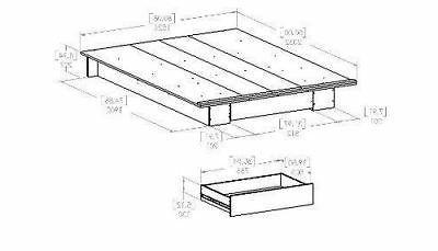 Full Oak Wooden Bed Frame Under Storage Drawer