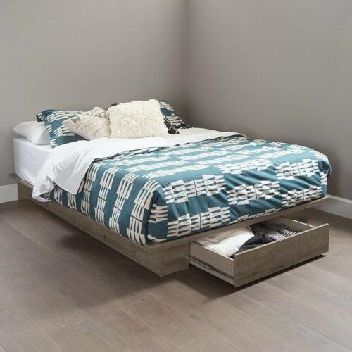full queen weathered oak wooden platform bed