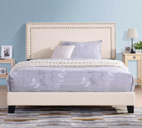 Full Size Bed Frame Upholstered Platform Bed with Wooden Sla