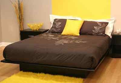 Full Size Black Platform Bed Frame Mattress Bedroom Cheap Fu