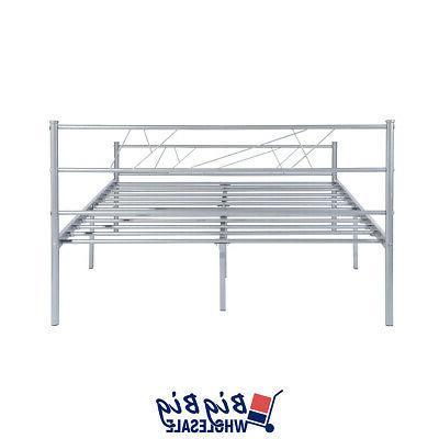 Full Metal Bed Frame Foundation Headboard Silver