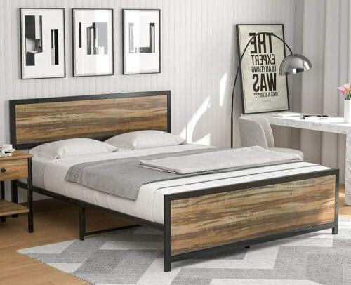 Full Frame Platform Rustic Mattress Foundation Bedroom