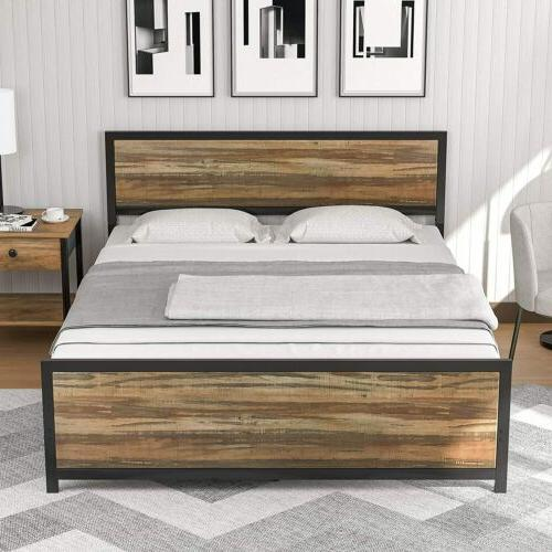 full size metal bed frame platform rustic