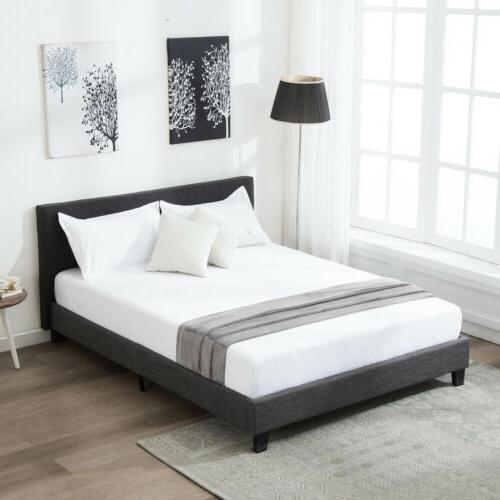 Full Size Metal Bed Frame Platform Upholstered Headboard Hom