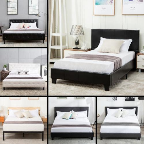 full size metal bed frame platform upholstered