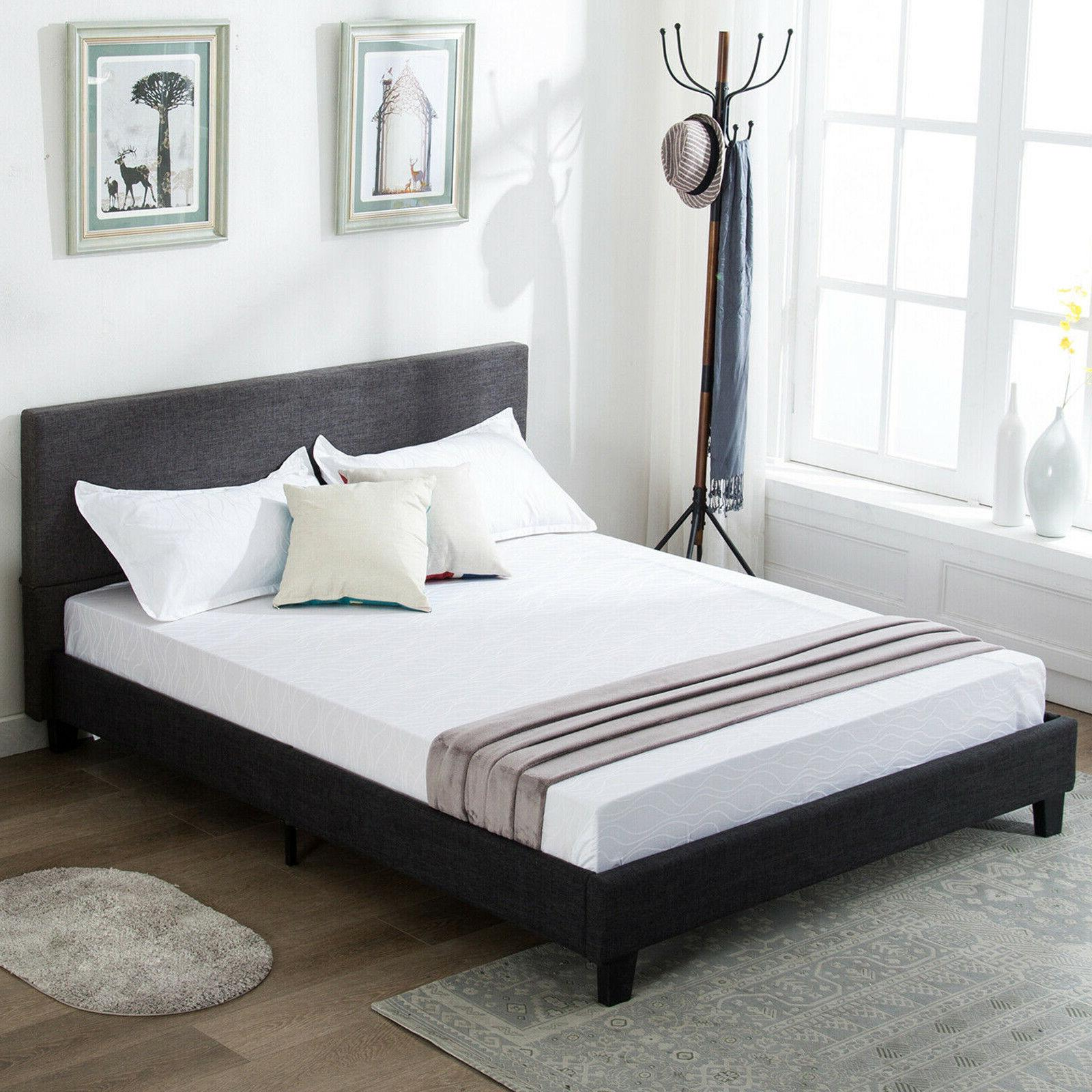 full size platform bed frame upholstered gray