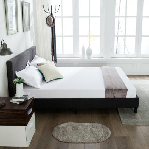 Full Size Platform Bed Frame Upholstered Headboard& Slats
