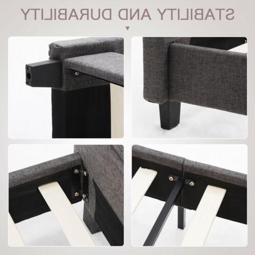 Full Size Platform Frame Upholstered Gray Linen Headboard