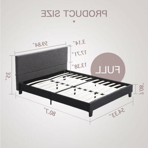 Full Frame Upholstered Slats Bedroom Furniture Gray
