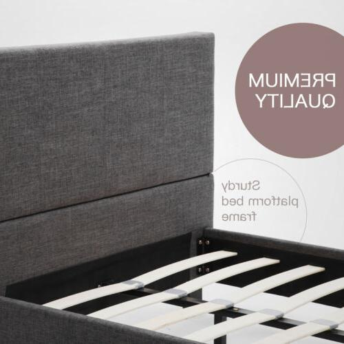 Full Platform Bed Frame Headboard& Bedroom Furniture Gray