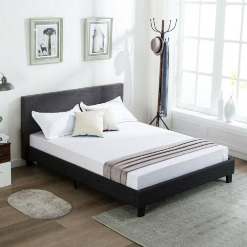 Full Size Platform Bed Frame w/ Upholstered Headboard& Slats