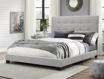 full size platform bed frame upholstered headboard