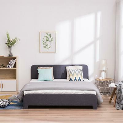 Full Size Bed Frame with Slats Gray