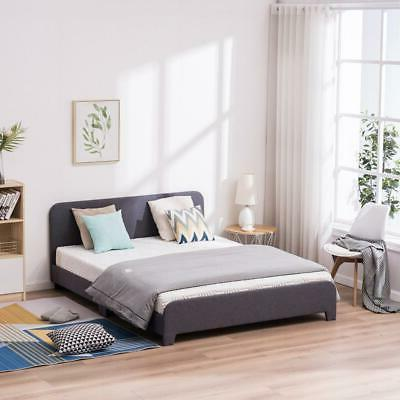 Full Size Platform Frame Upholstered Linen with Wood Gray