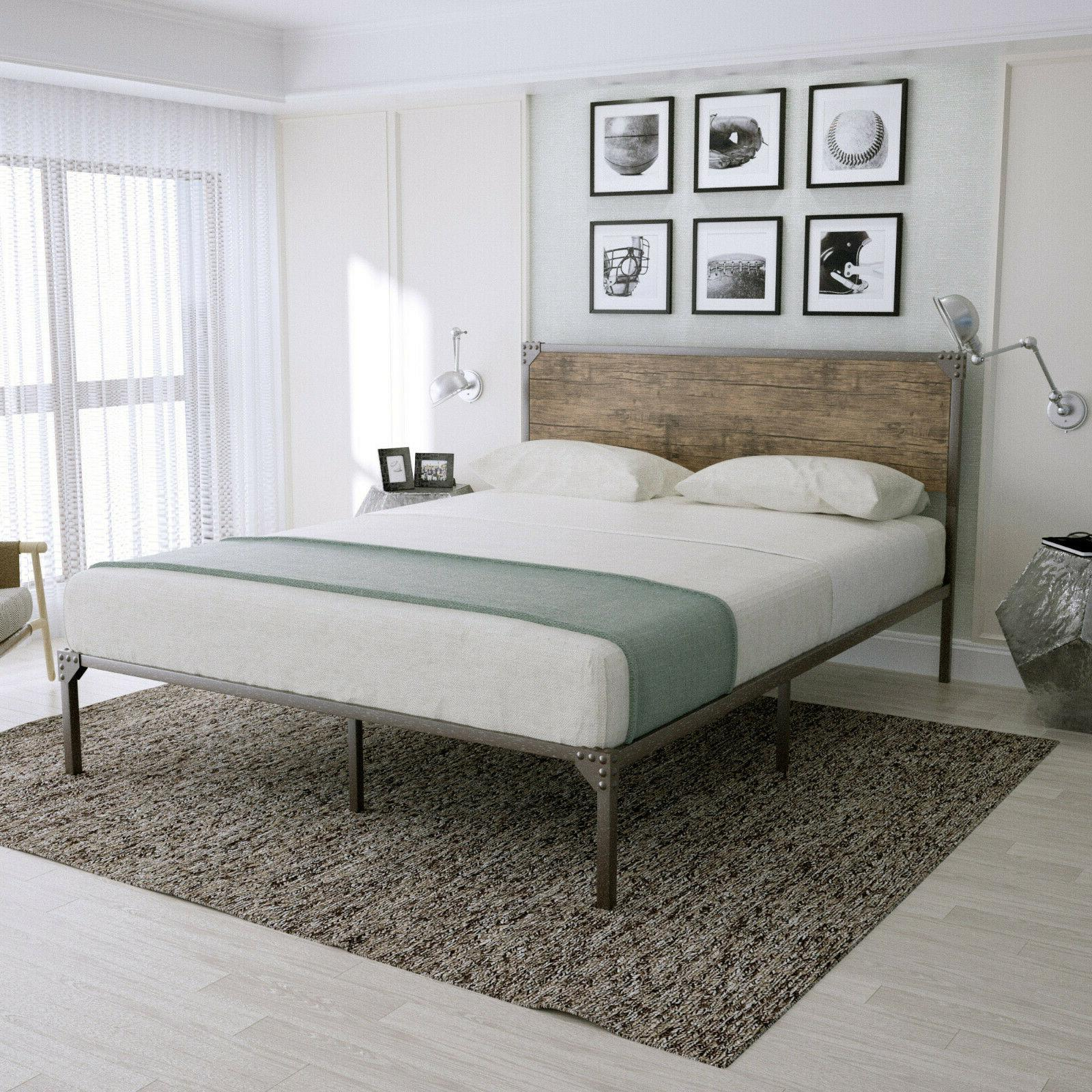 Full Metal Bed Frame with Style Design Headboard