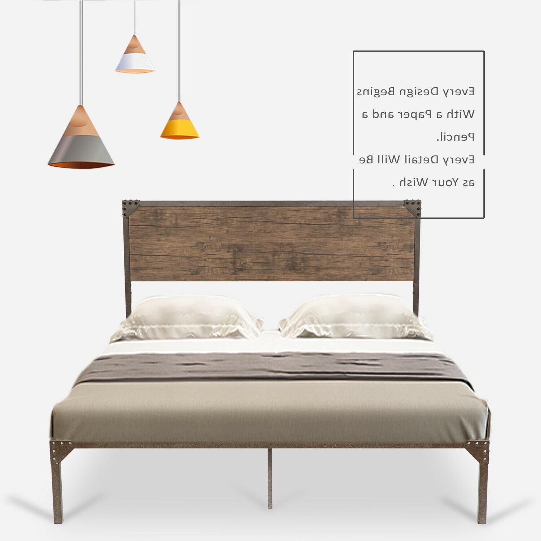 Full Size Bed Frame Style Rivet Design Headboard