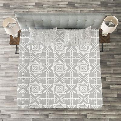 geometric quilted bedspread and pillow shams set