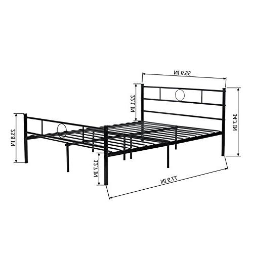 GreenForest Full Size Bed Frame with Headboard and Mattress Base Replacement, Black
