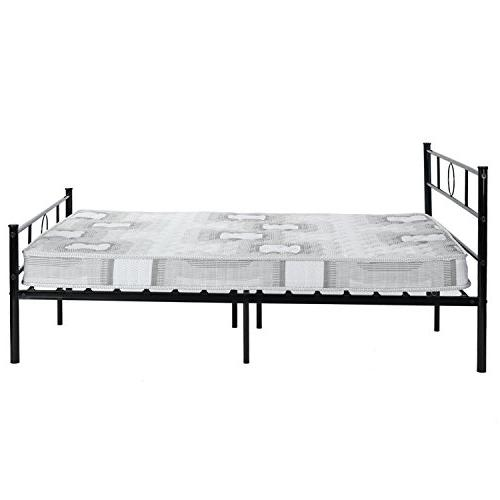 GreenForest Size Bed Frame Headboard and Stable Metal Mattress Base Black