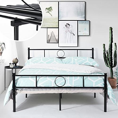 GreenForest Full Size Frame with and Stable Metal Mattress Black