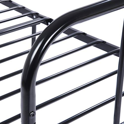 GreenForest Twin Bed Frame Stable Slats Replacement Base,Black
