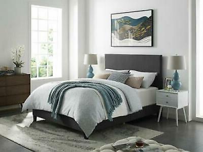 Grey Fabric Full Size Platform Bed Frame w/Headboard Upholst