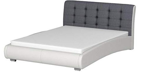 Baxton White Faux Leather Two Tufted Platform Bed, Grey