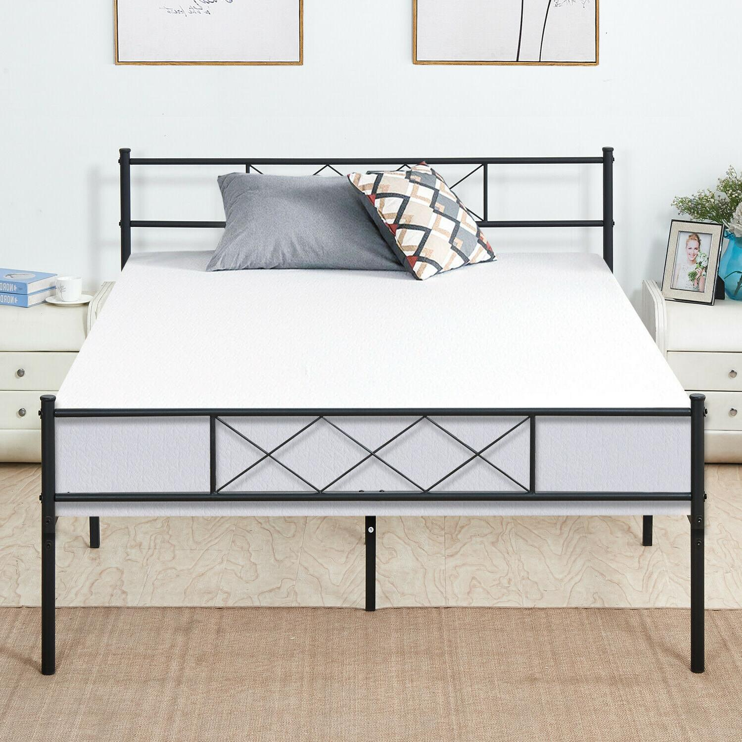 Queen Size Bed Frame With Headboard Metal Footboard Black Pl