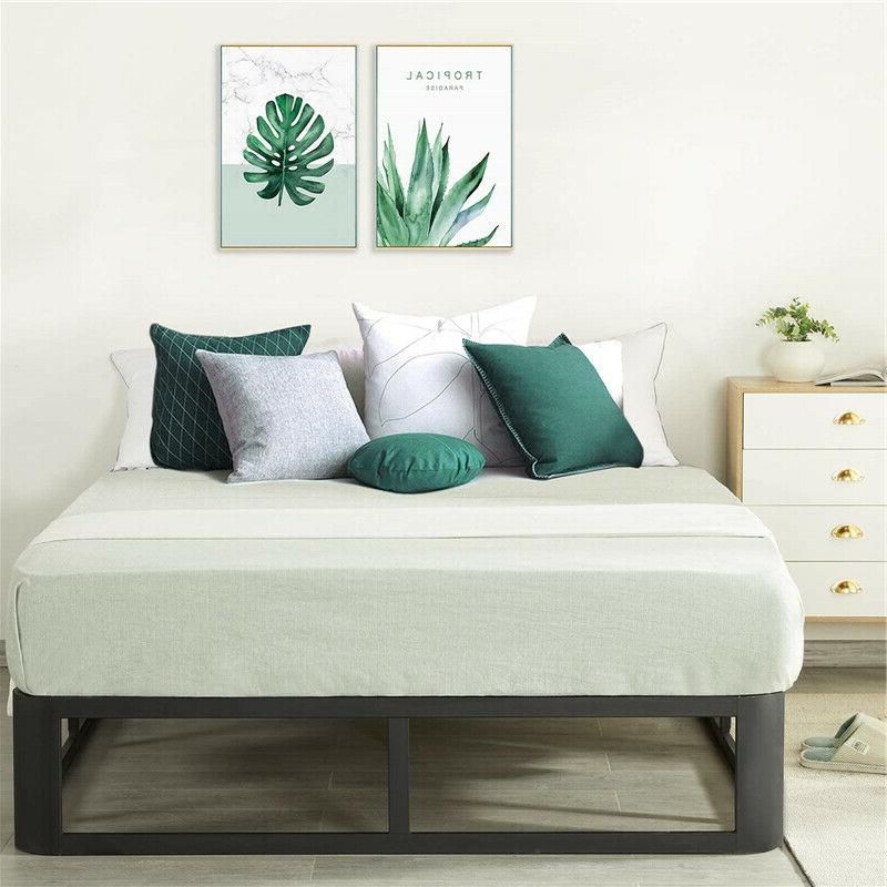 Durable Modern 12 Inch Metal Platform Bed Slatted Base Twin Size Black
