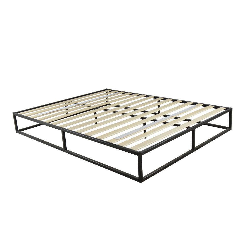 Twin Full Queen King Wood Slats Metal Platform Bed Frame Mat